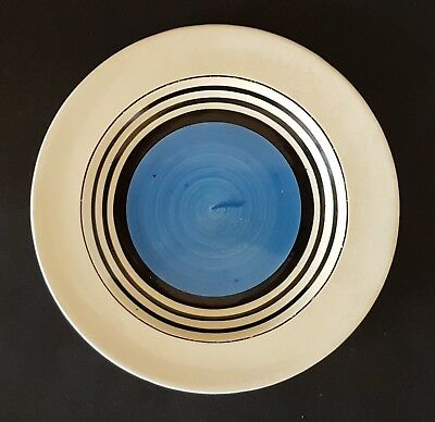 Small Susie Cooper Art Deco Blue and Black Pottery Plate