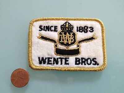 Vintage WENTE BROS. winery PATCH unused RARE sew on Livermore, CA wine