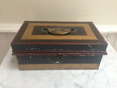 Antique Vintage Old Metal Money Cash Tin Box