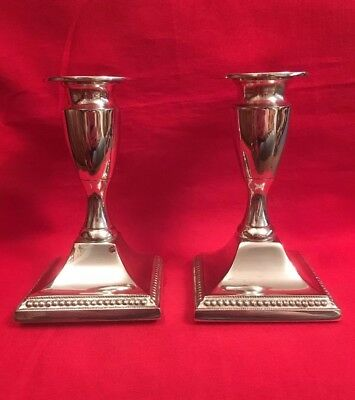 Pair Of Vintage English Silver Plated Candlesticks c.1950's