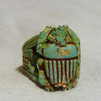 Beautiful Egyptian Glazed Ring With Scarab