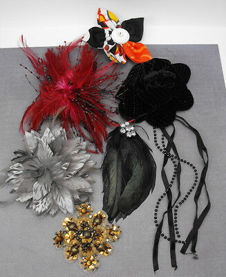 Hair Hat Fascinator Lot Feather Flower Corsage Cloth Bridal Costume Brooch Clip