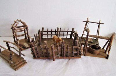 7pc ANTIQUE VINTAGE GERMANY PUTZ WOOD FARM VILLAGE ACCESSORIES CORRAL COW