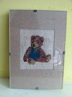 Vintage Picture Handcrafted Cross Stitch Tapestry Needlepoint Teddy Bear