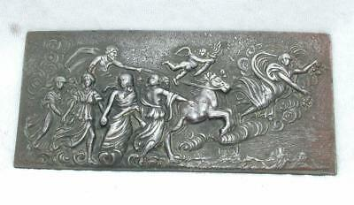 "Antique Repousse Style Pewter Mythological Panel Marked ""pr"""