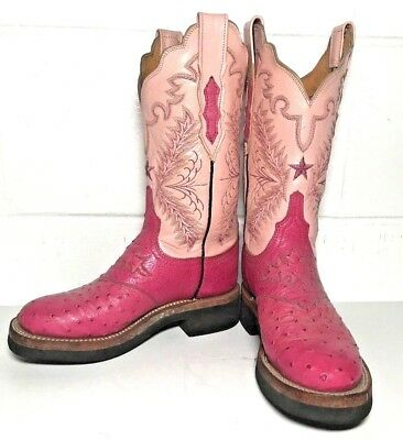 LUCCHESE Hot PINK OSTRICH Leather Womens WESTERN Cowgirl COWBOY BOOTS sz 5C 5 C