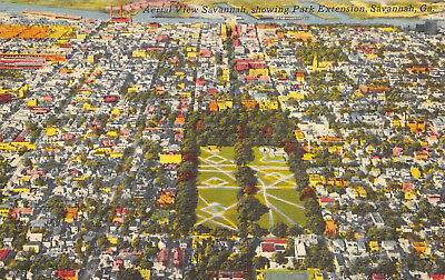 Savannah Georgia 1940s Linen Postcard Aerial View Showing Park Extension