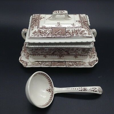 Wallis Gimsom Alexandria Transferware Antique Gravy Sauce Tureen Birds Eastlake