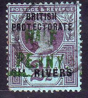 [51622] Niger Coast 1893 good Used VF stamp $350 + Certificate (pics in desc)