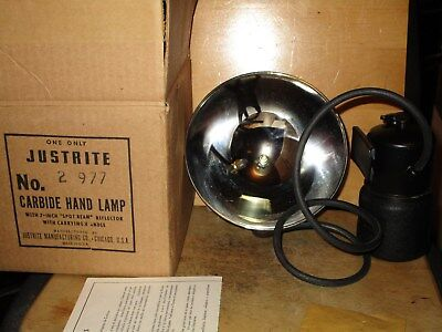 Miners/Cavers JUSTRITE No.2-977 CARBIDE HEAD LAMP W/GENERATOR- NEW/OLD STOCK!!