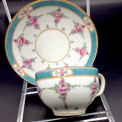 Minton Persian Rose Tea Cup & Saucer Flowers Antique
