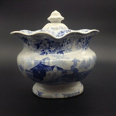 Antique Ceramic Blue Transferware Covered Large Sugar Serving Bowl Dish