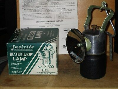 Miners JUSTRITE No. 2-500 CARBIDE HAND LAMP With Box- NEW/OLD STOCK!!