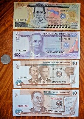 Lot of 4 Banknotes Philippines 1995-2004  Very Fine