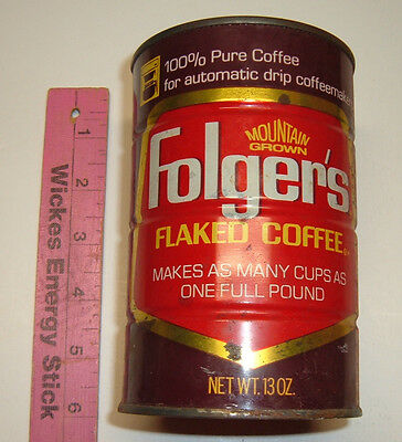 Vintage 13 oz.  Folger's Flaked Coffee Can for automatic drip coffeemakers