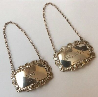 Pair Of Vintage Hallmarked 1970 Solid Silver Gin & Brandy Decanter Labels.