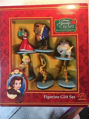 Beauty And The Beast Enchanted Christmas 6 Figurines Boxed Gift Set Rare