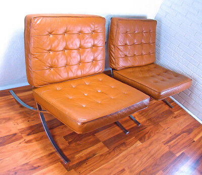 Pair of Mid-Century Modern Regency Knoll Barcelona Style Chrome Lounge Chairs