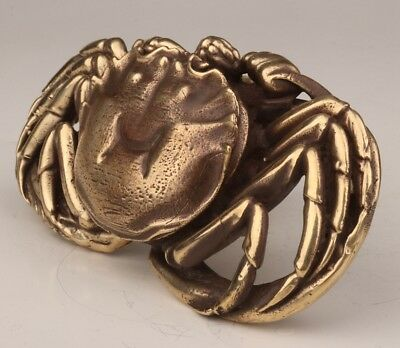 Christmas Gift Chinese Brass Belt Buckle Statue Animal Crab Old Handicraft