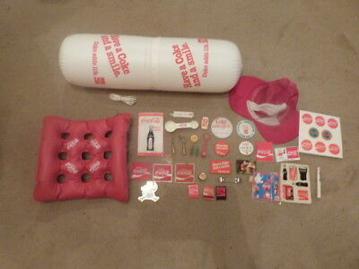 GREAT Lot of Coca Cola Coke Items Blow Up Cushion Keychains Matches Hat Stickers