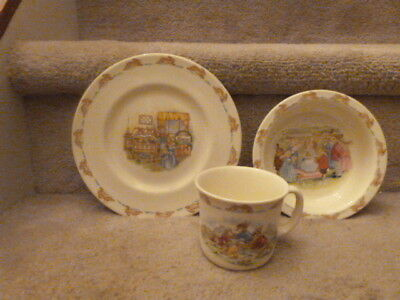 Royal Doulton Bunnykins Child's Set Plate Bowl Cup Time for Bed Wheelbarrow Race