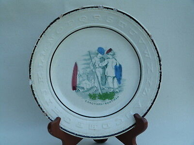 Early staffordshire ABC alphabet plate - kids - Canotiers - Boatmen
