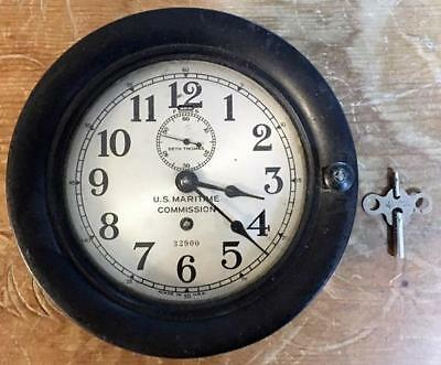 Nicely Running Old Seth Thomas U.s. Maritime Commission Ships Clock #32900  Nr