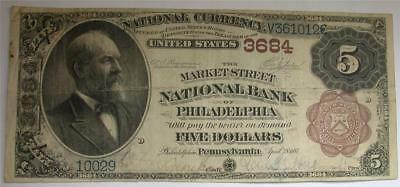 1882 $5 Five Dollar Market St. National Bank Philadelphia PA Currency Note Bill