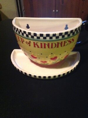 "2002 Mary Engelbreit Large Pottery ""cup Of Kindness"" Hanging Decor"