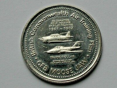 CFB Moose Jaw SK 1987 Trade DOLLAR Token with RCAF/RAF WWII Pilot Training