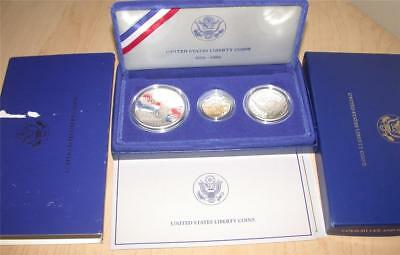 1986 Liberty $5 Five Dollar Gold 1$ Dollar Silver Commemorative 3 Coin Proof Set