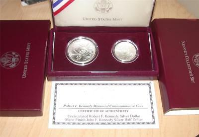 1998 Robert John F. Kennedy Commemorative Silver $1 Dollar Half Dollar Coin Set