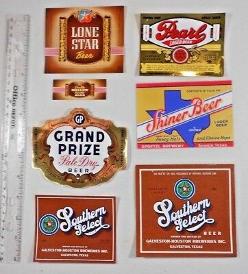 USA IRTP Beer Label Lot  #294 -- Texas -  - 6 Different & 1 Neck