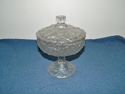 Fenton Art Glass Clear Satin Footed Covered Compote Water Lily Candy Dish