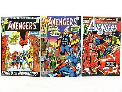 Vintage 1971 1973 Marvel The AVENGERS Comic Book LOT 92, 94, 112