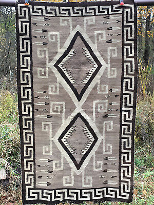 "old... 2 Two Grey Hills Indian Rug   63"" x 36"" Sixty-three  x Thirty-Six Inches"