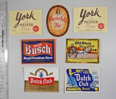 USA IRTP Beer Label Lot  #303 -- Pennsylvania - 7 Labels  - 6 Different