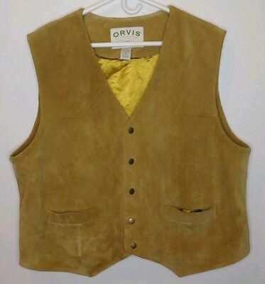 Orvis 100% Roughout Suede Leather Vest Size XL