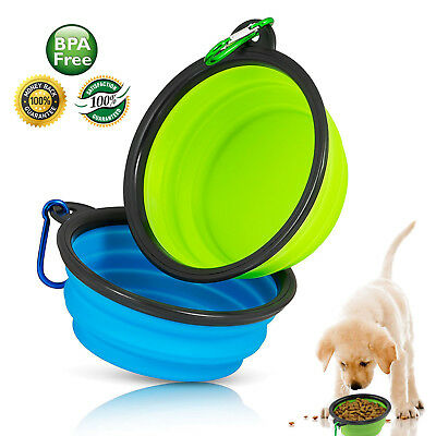 Pets Dog Bowl Portable Foldable Collapsible Silicone Pet Cat Dog Food Water Feed