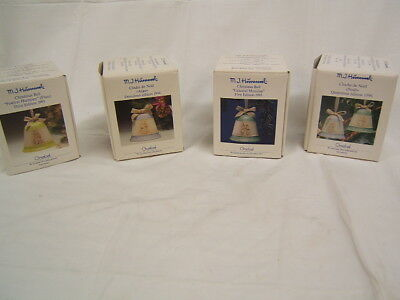 Lot of 4 Hummel Christmas Bells 1993, 1994, 1995, 1996 MIB Lovely