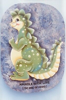 "DeLane Lange vintage tole painting pattern ""Handle With Love Dragon"""