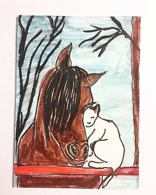Original ACEO Cat White Horse Painting Miniature Card Atc Ooak By Carole Collins