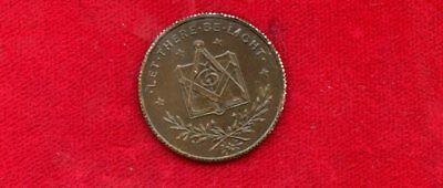 """Masonic  Token """"let There Be Light"""" 21 Mm Copper British ??????"""