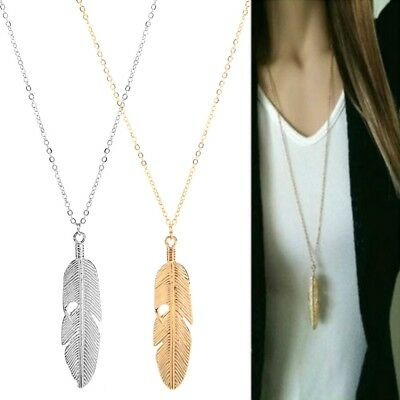 Simple Sweater Long Chain Feather Leaf Pendant Statement Necklace Jewelry Women
