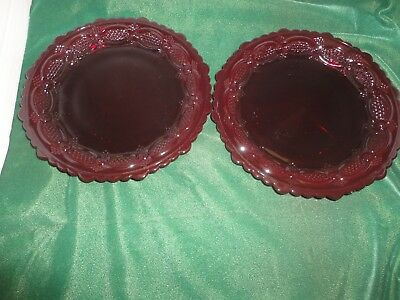 Avon Cape Cod 1876 Ruby Red Cranberry Salad Dessert Plates Christmas LOT of Two