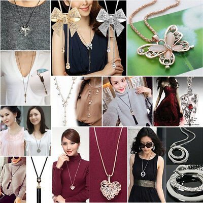 Women Crystal Feather Elephant Butterfly Owl Pendant Long Necklace Sweater Chain
