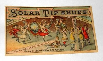 Antique 1880s Solar Tip Shoes Childrens Party Victorian Trade Card, Philadelphia
