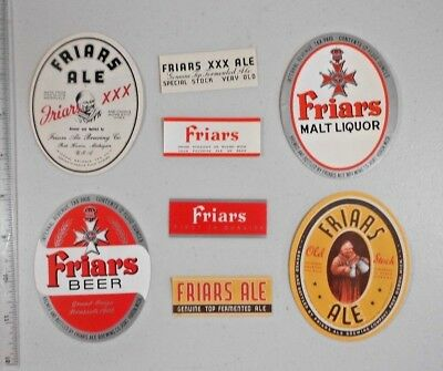 USA IRTP Beer Label Lot  #323 -- Michigan  - 4 Different Friars  & 4 Neck