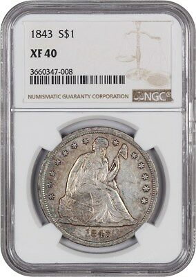 1843 $1 NGC XF40 - Low Mintage Date - Liberty Seated Dollar - Low Mintage Date