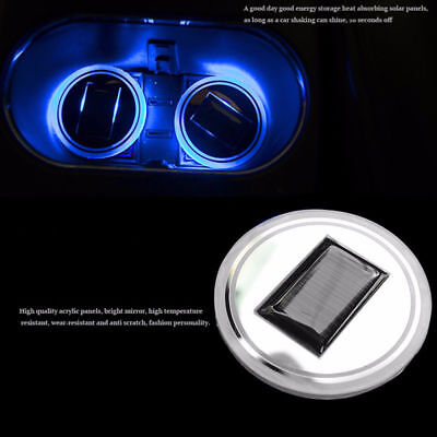 2PC Solar Cup Pad LED Light  Interior Decoration Car  Bottle Drinks Accessories